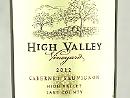 2012 High Valley Cabernet